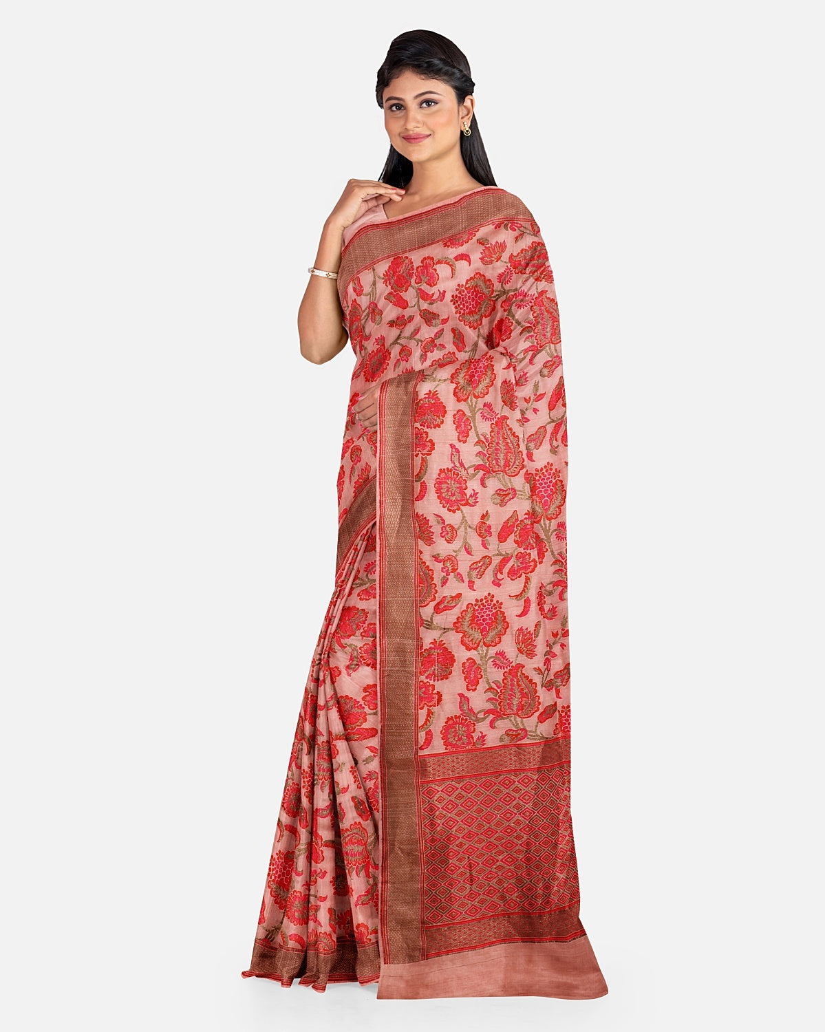 Nude Pink Tussar Georgette Saree