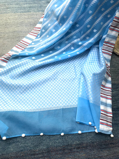 Ink Blue Cotton Cutwork Saree