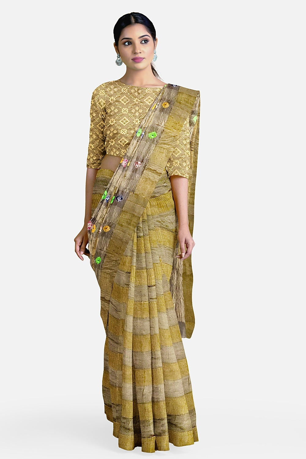 Pale Khaki Gold Crushed Dupion Silk Saree