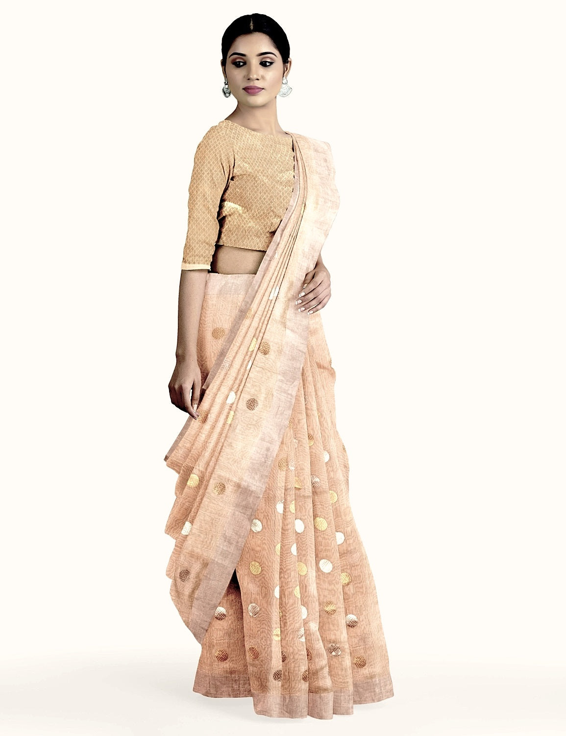 Gold Polka Tissue Saree