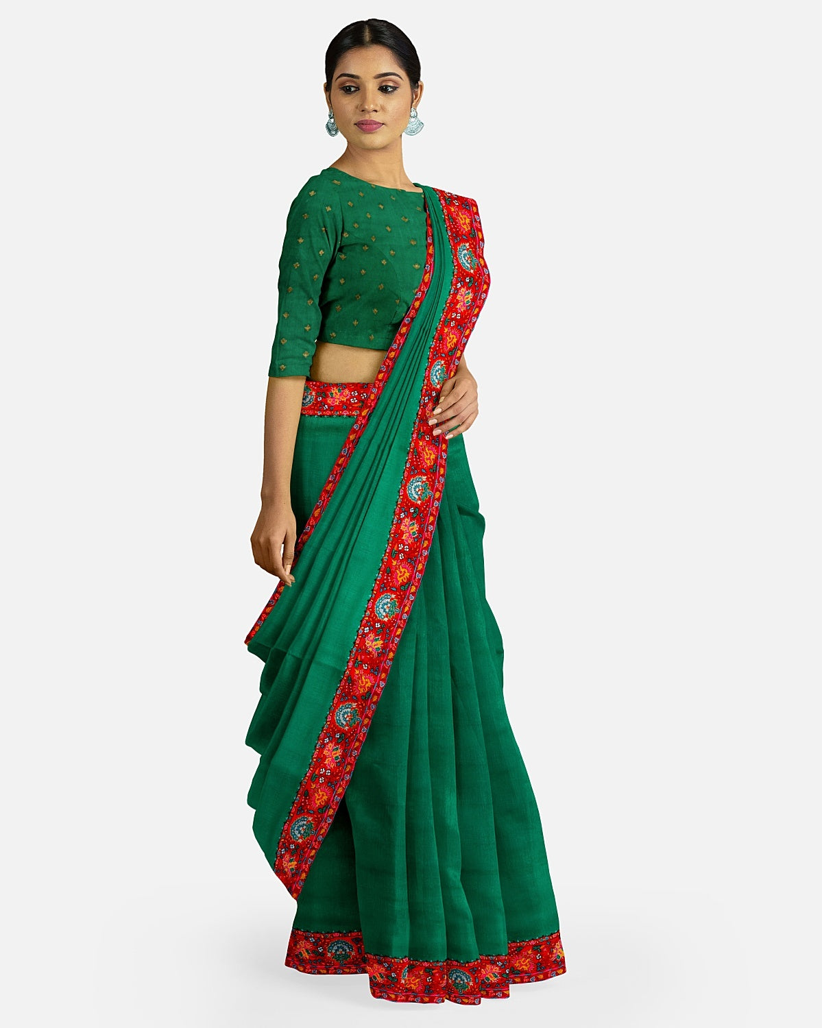 Bottle Green Silk Matka Kashmiri Saree