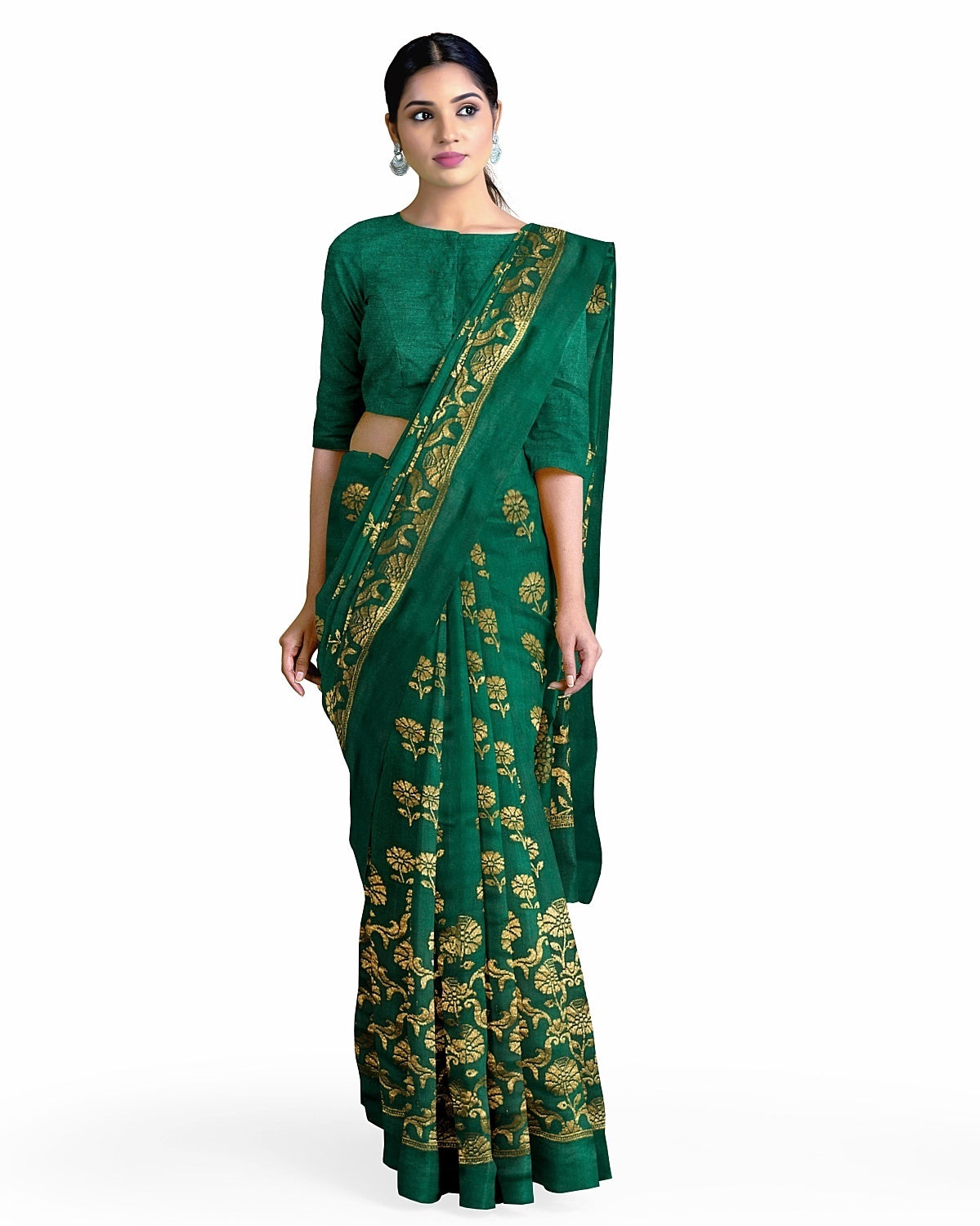 Bottle green Silk Matka Saree