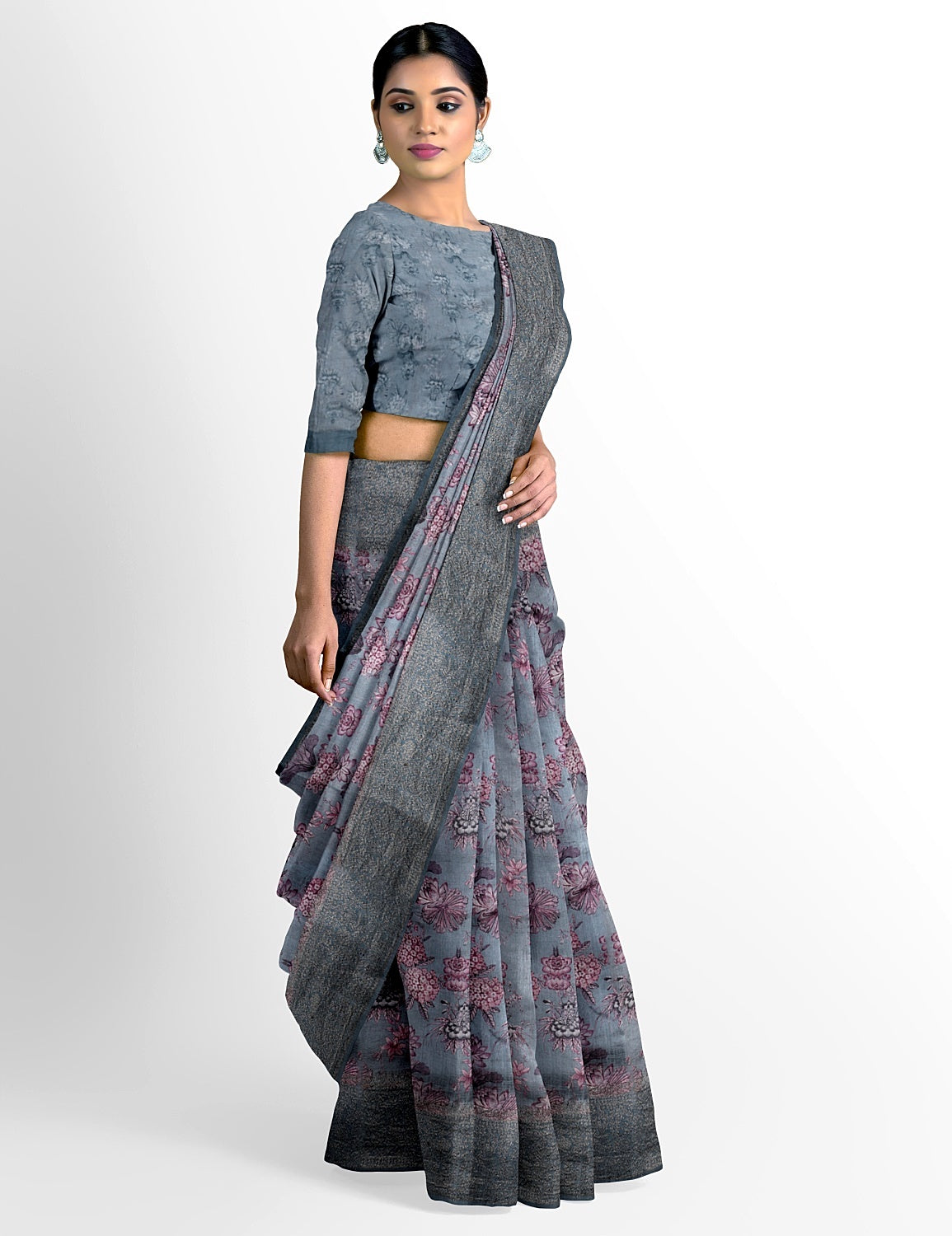 Grey Dupion Silk Saree