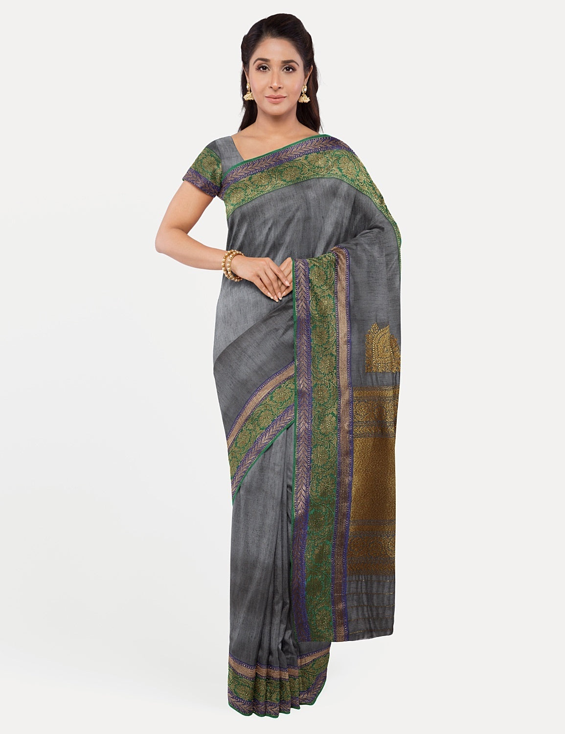 Slate Grey Dupion Silk Saree