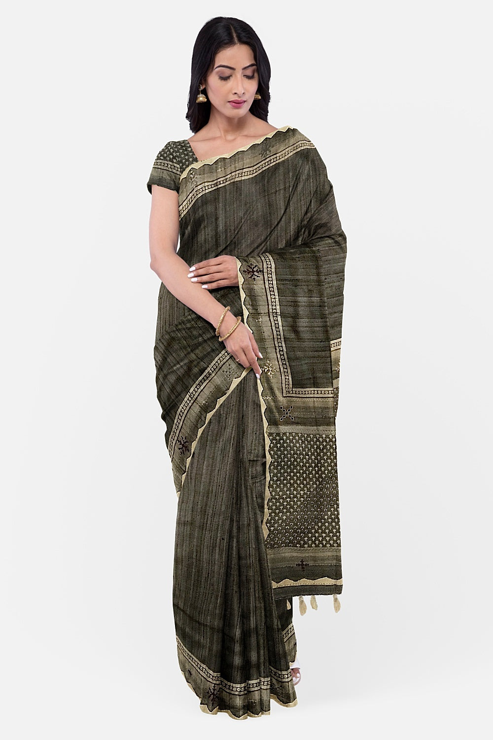 Charcoal Grey Matka Tussar Sujini Saree