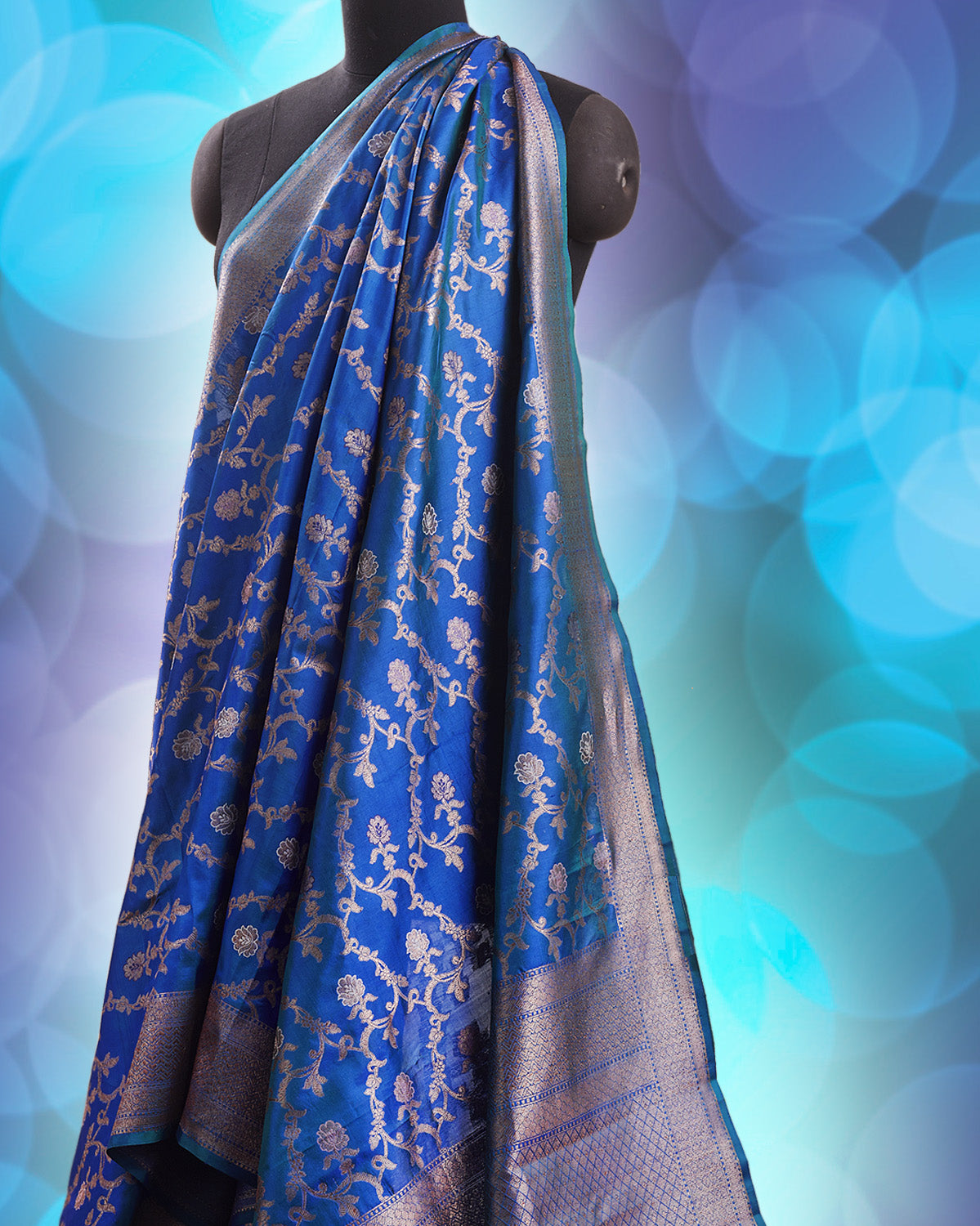 Hera Peacock Blue Katan Silk Saree