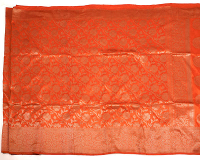 Hestia Orange Katan Silk Saree