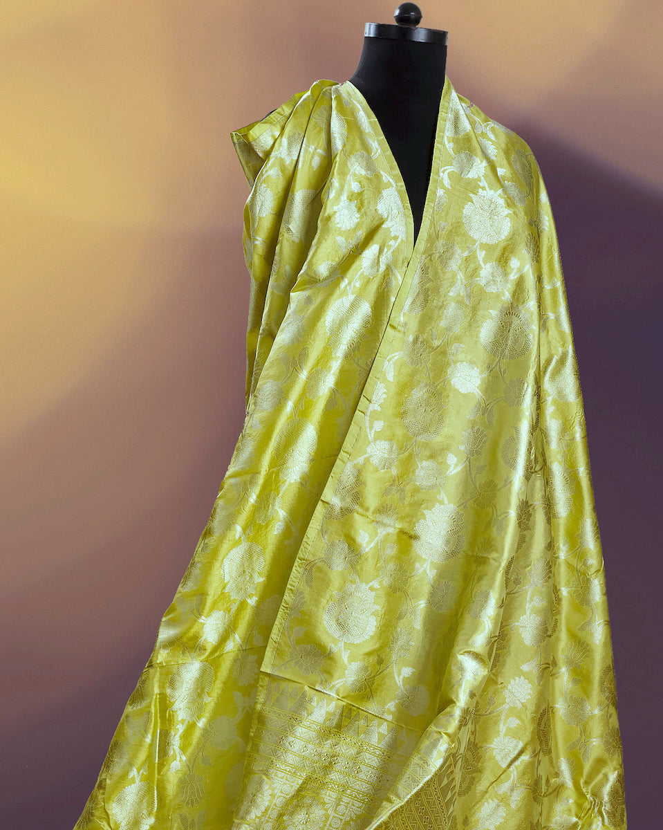 Jaune Lime Yellow Katan Silk Saree