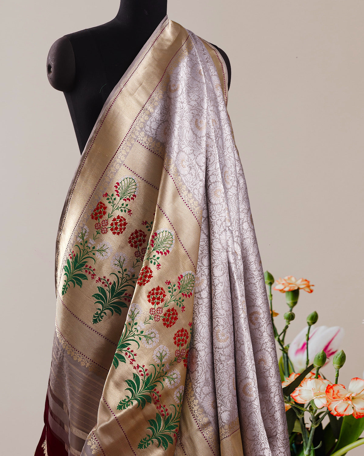 Smoky Lavender Brocade Silk Saree
