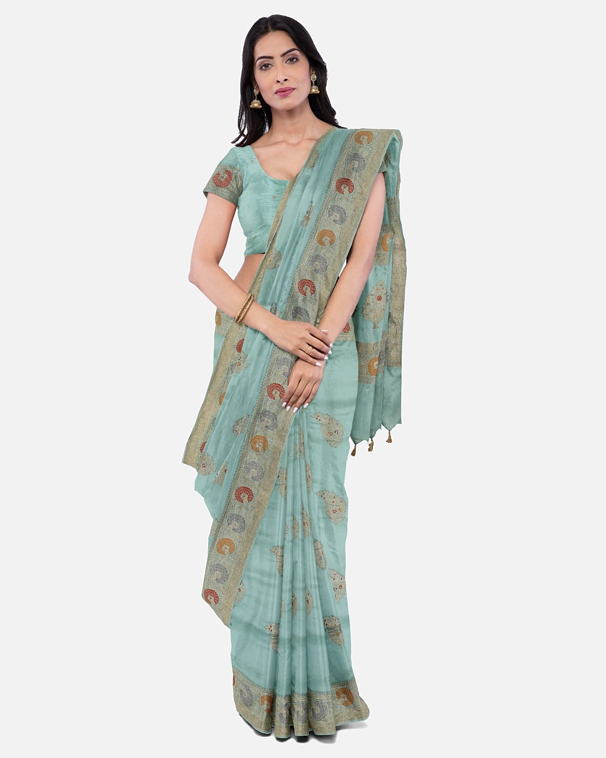Light Sea Green Soft Silk Saree
