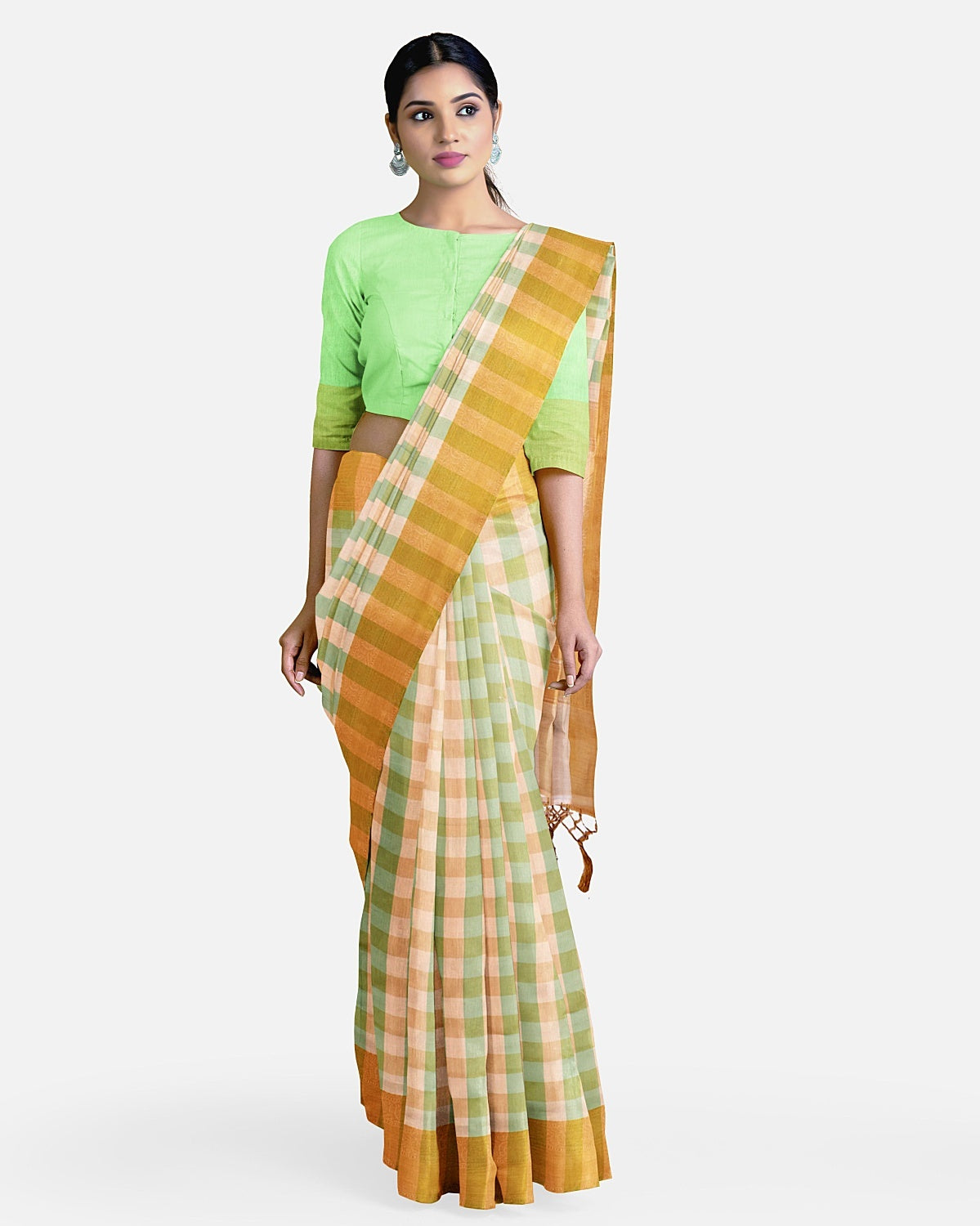 Sea-green and cream Check Cotton Saree