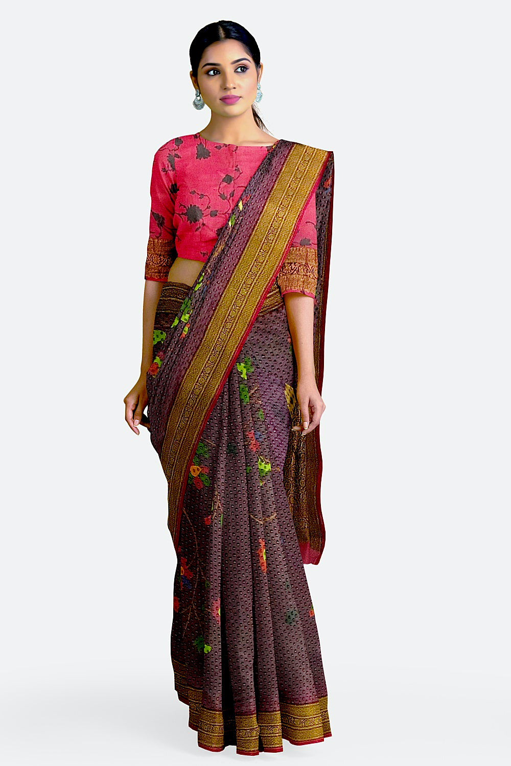 Violet Printed Georgette Saree