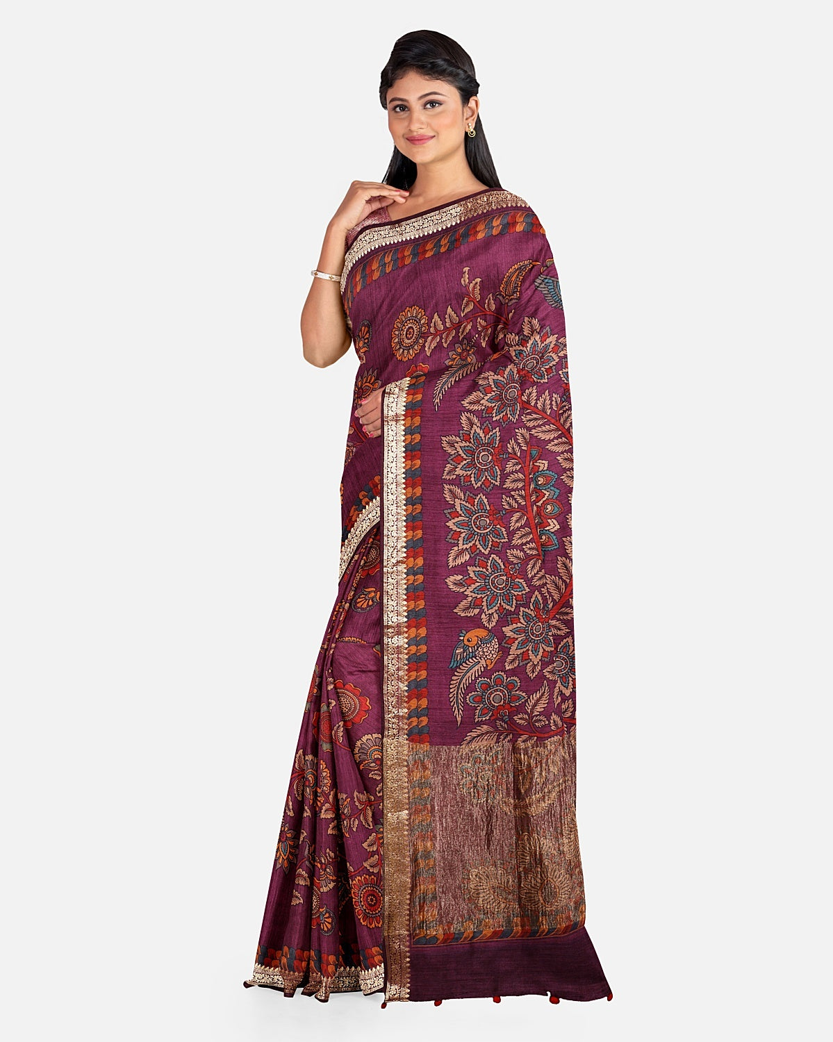 Magenta Moonga Cotton Kalamkari Saree