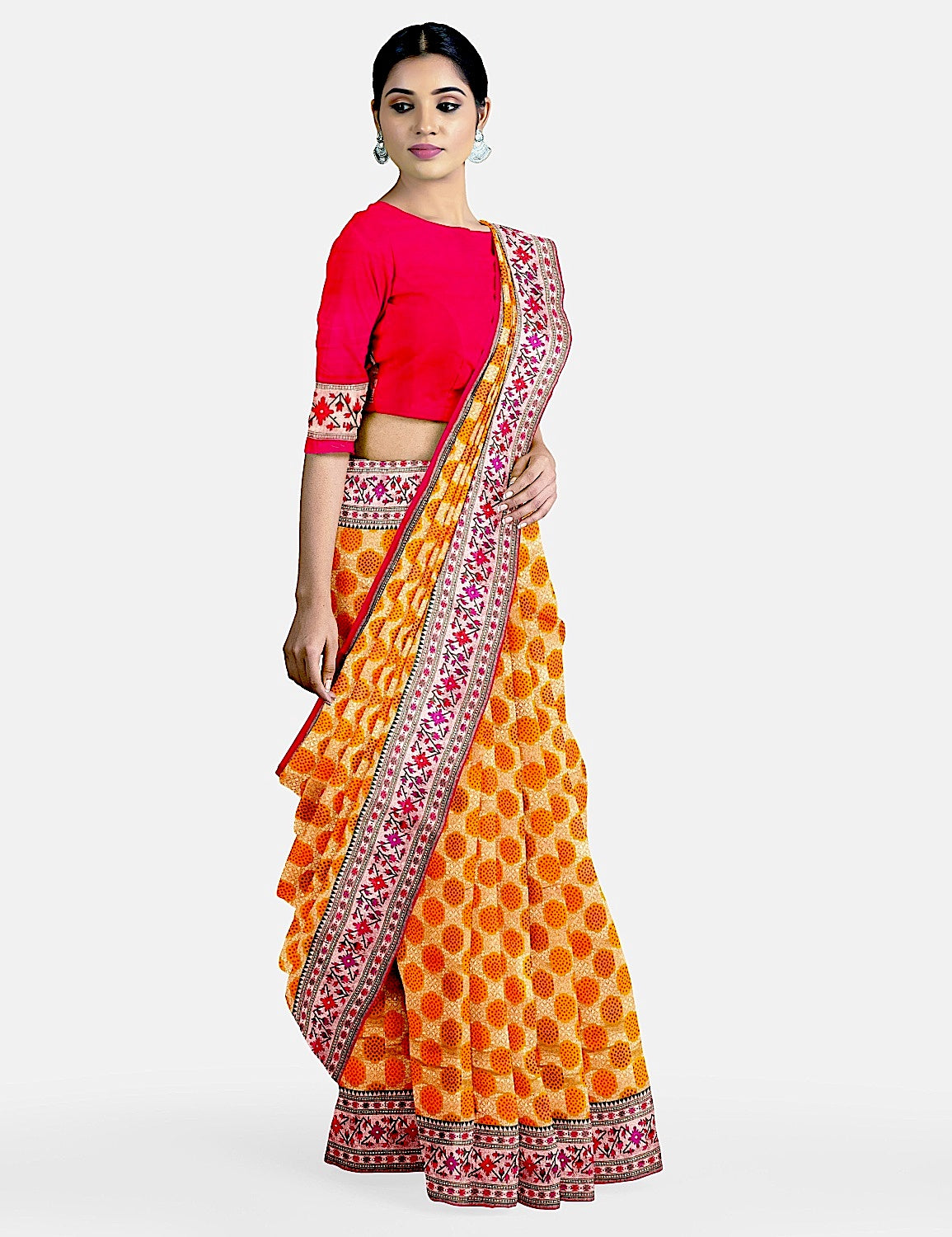 Saffron Yellow Silk Saree
