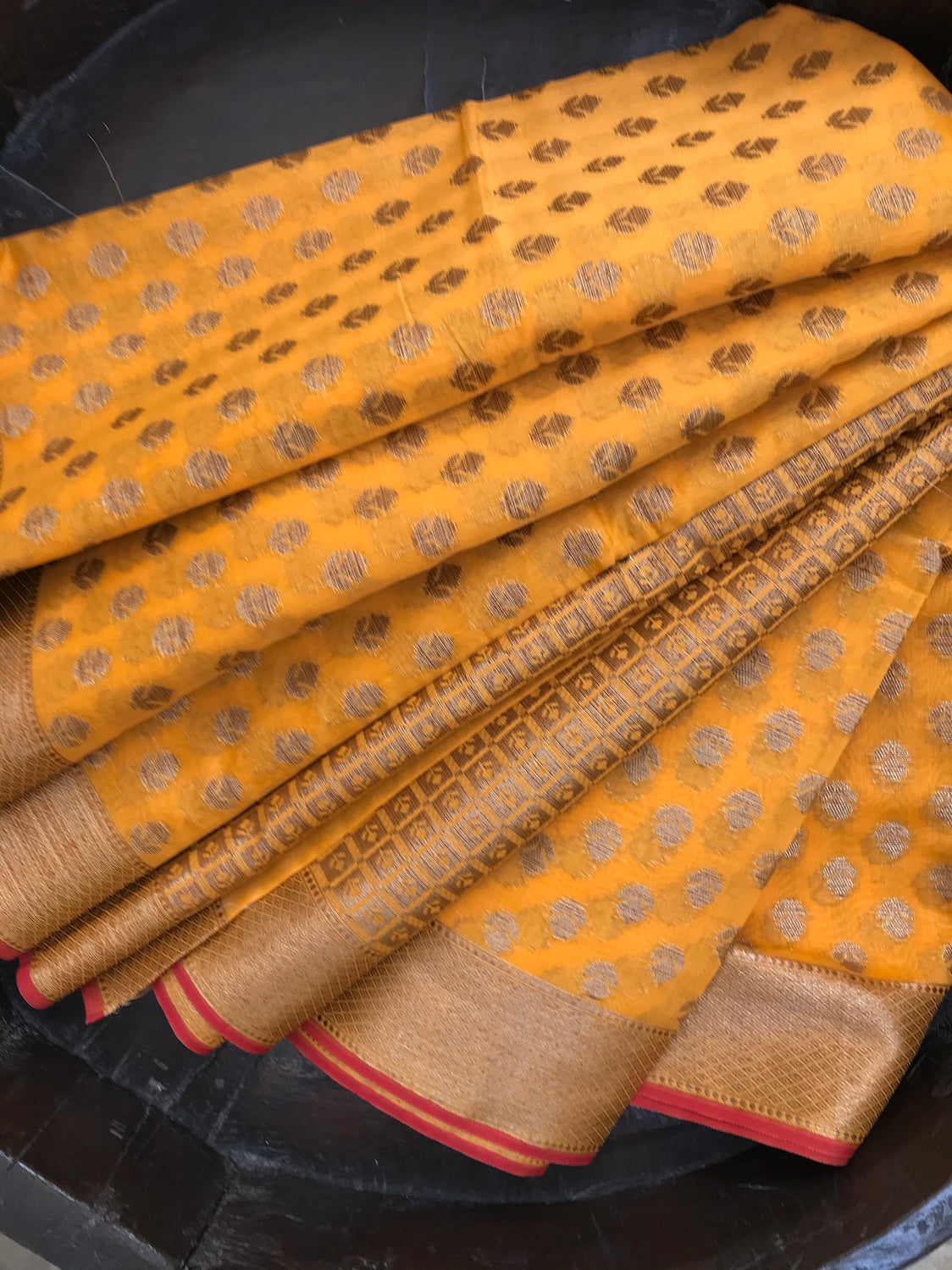 Mango Yellow Cotton Saree