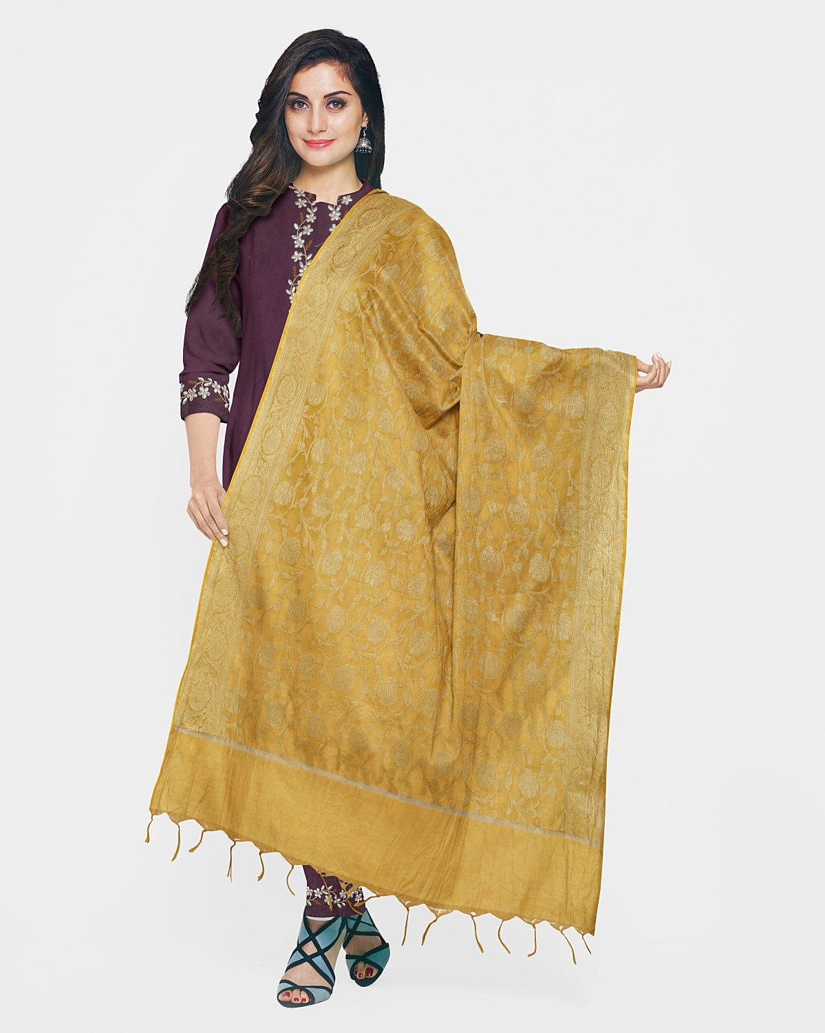 Mauve & Golden Yellow Gota Patti Suit Fabric Set