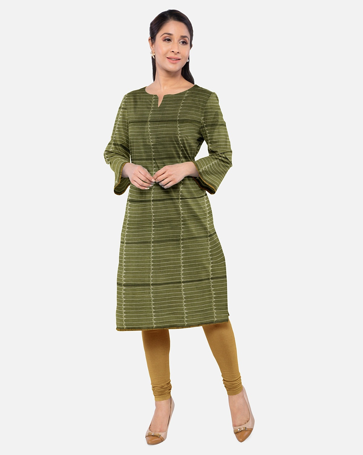 Olive Green & Rust Shibori Suit Fabric Set