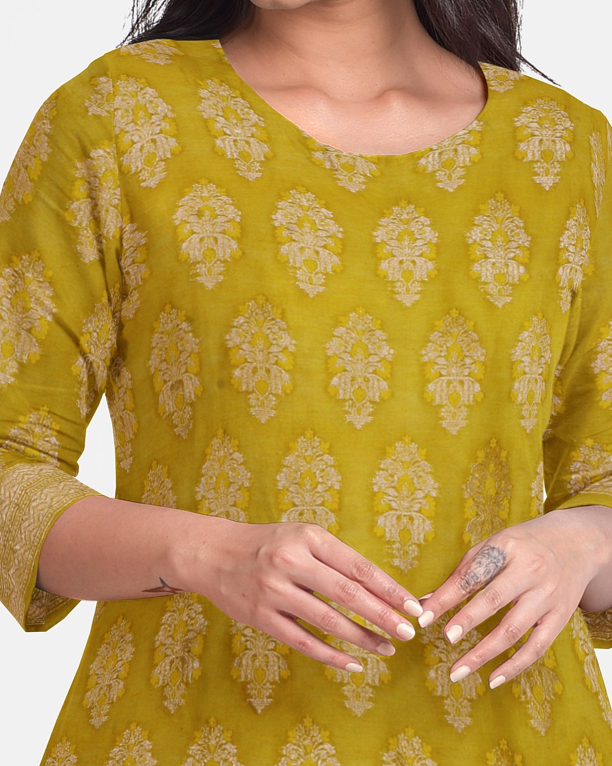 Mehendi Cotton Chanderi 2 pc Suit Fabric Set