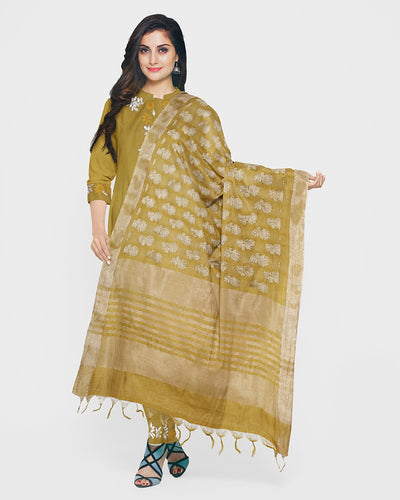 Mehandi Green Gota Patti Suit Fabric Set