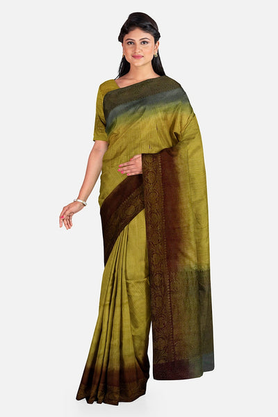 Mehandi Yellow & Grey Matka Georgette Saree