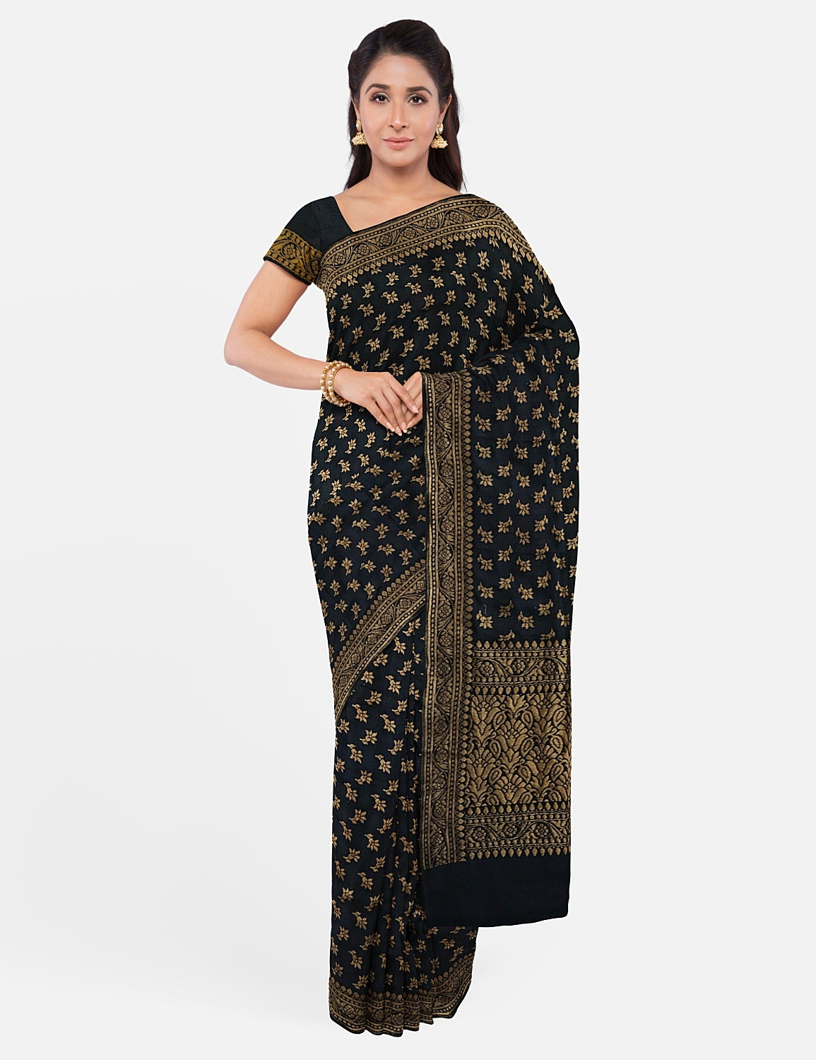 Midnight Blue Silk Matka Saree