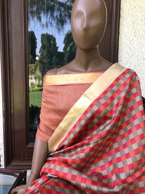 Rust Checks Moonga Cotton Printed Saree