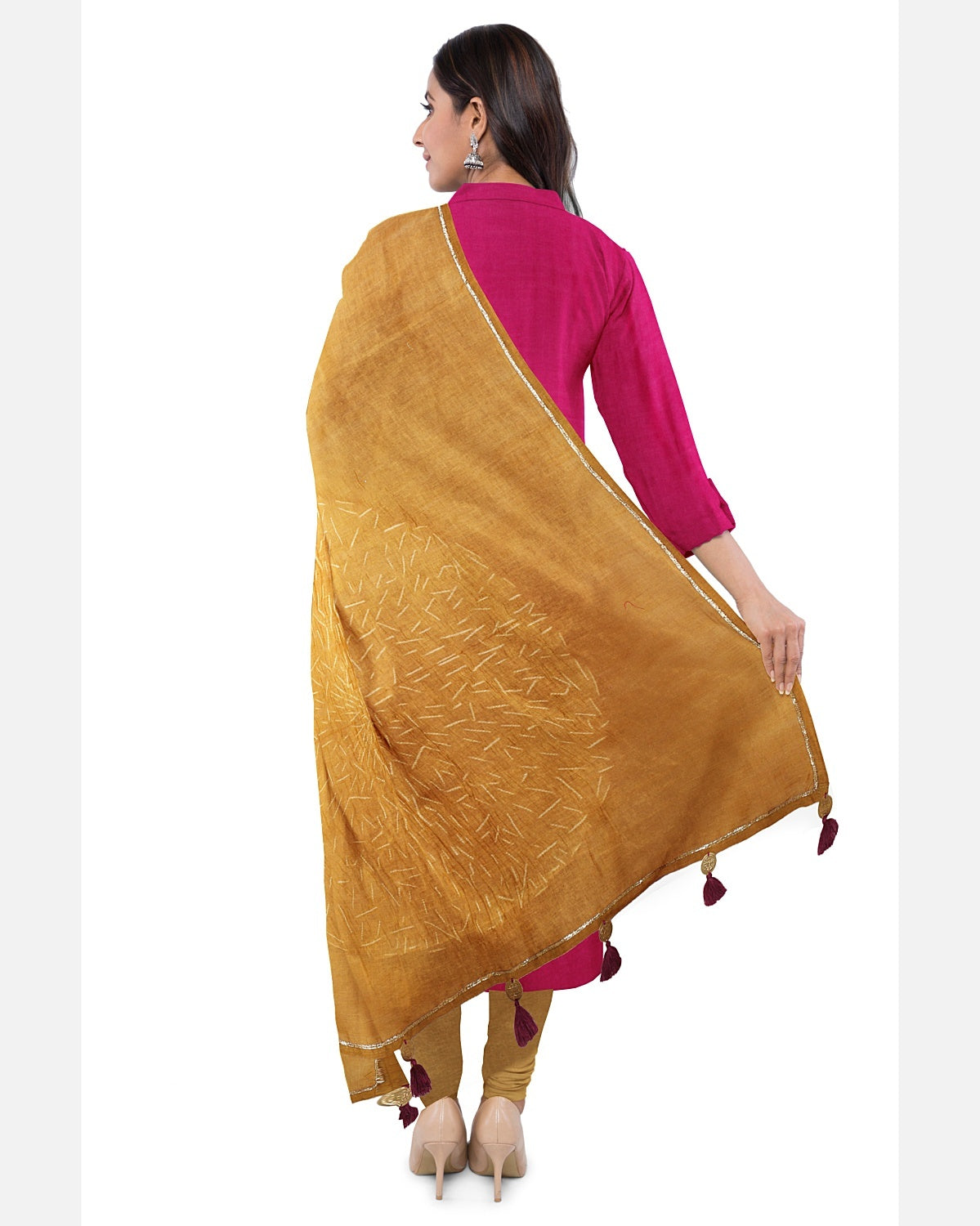 Mustard & Magenta Shibori Suit Fabric Set