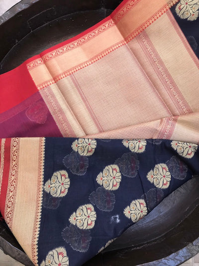 Navy Blue Booti Cotton Saree