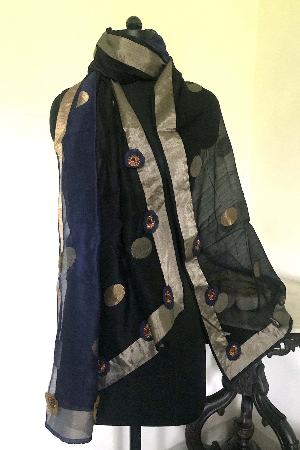 Navy Black Cotton Shaded Dupatta