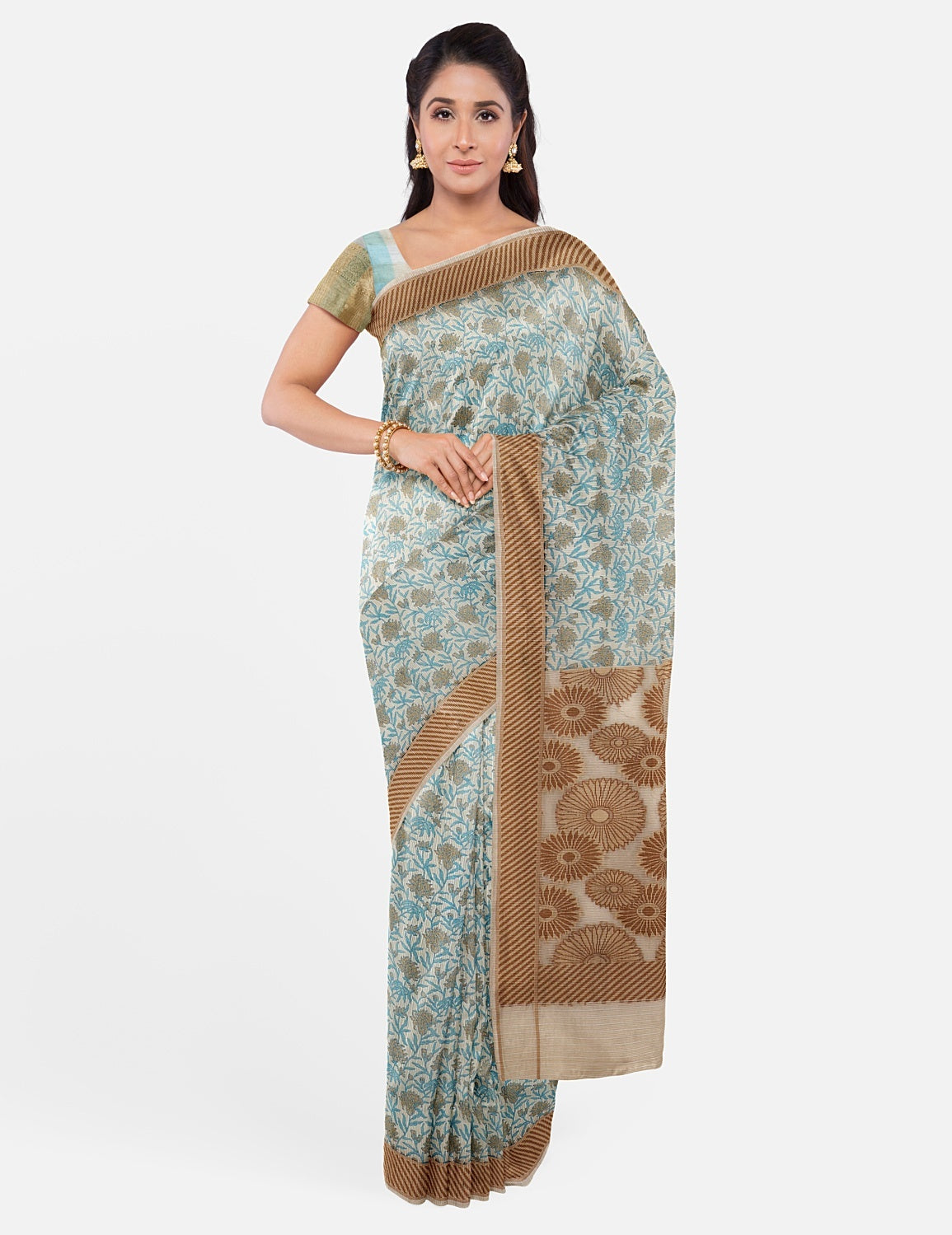 Off White Blue Cotton Saree
