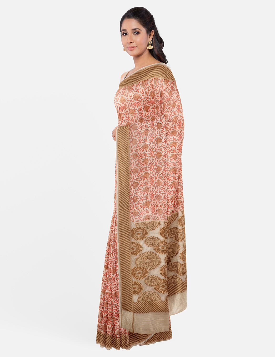 Off White Peach Cotton Saree