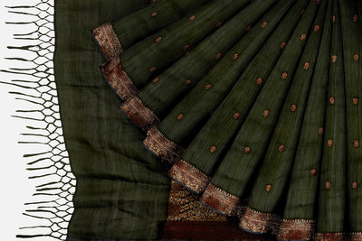 Dark Olive Cotton Booti Saree
