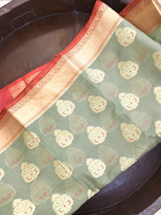 Olive Green Cotton Kota Saree