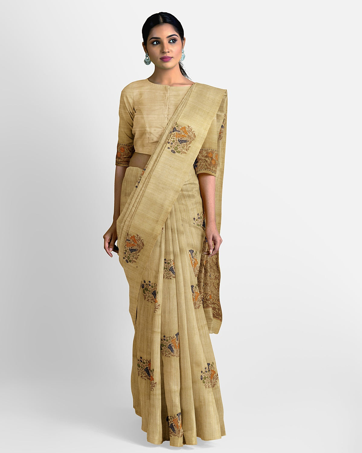 Light Olive Matka Georgette Saree