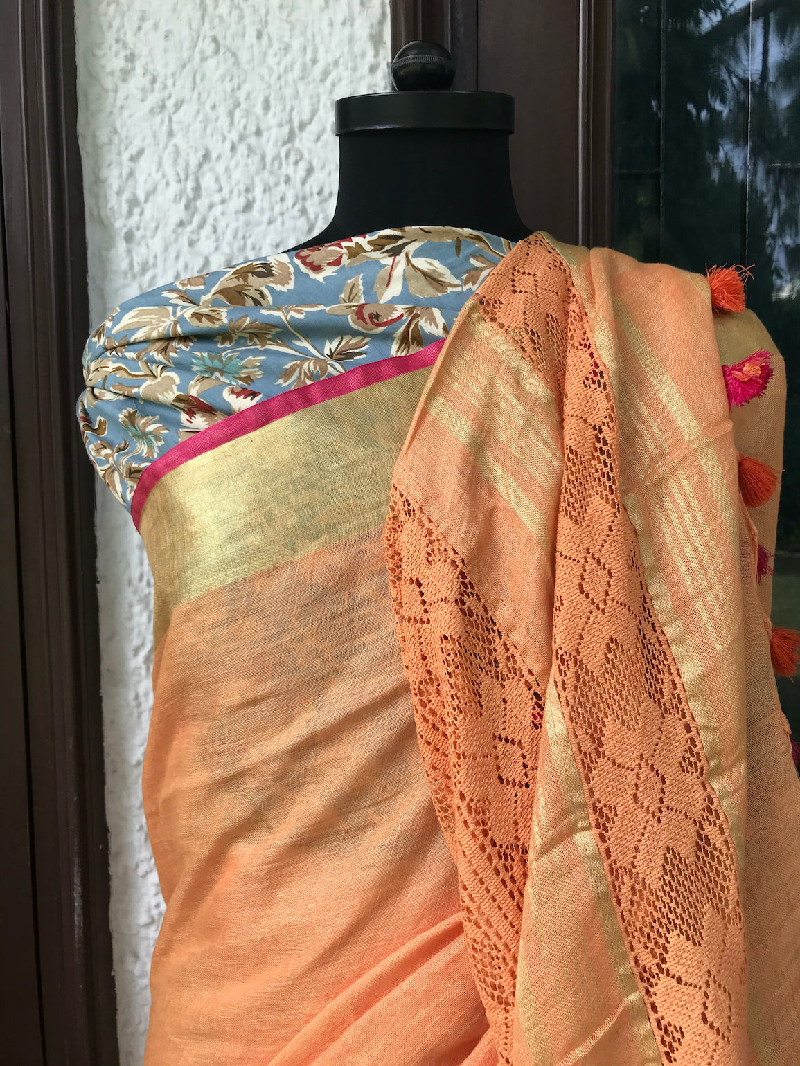 Tangerine Orange Lace Linen Saree