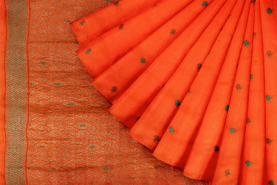 Orange Matka Georgette Booti Saree