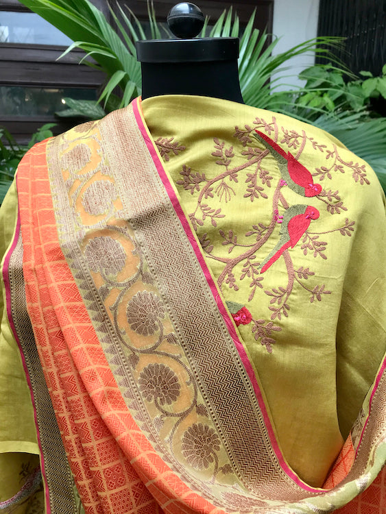 Orange & Lemon Yellow Organza Tanchoi Saree