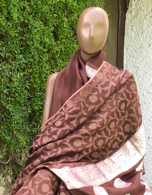 Enchanted Woods Brown & Silver Organza Saree