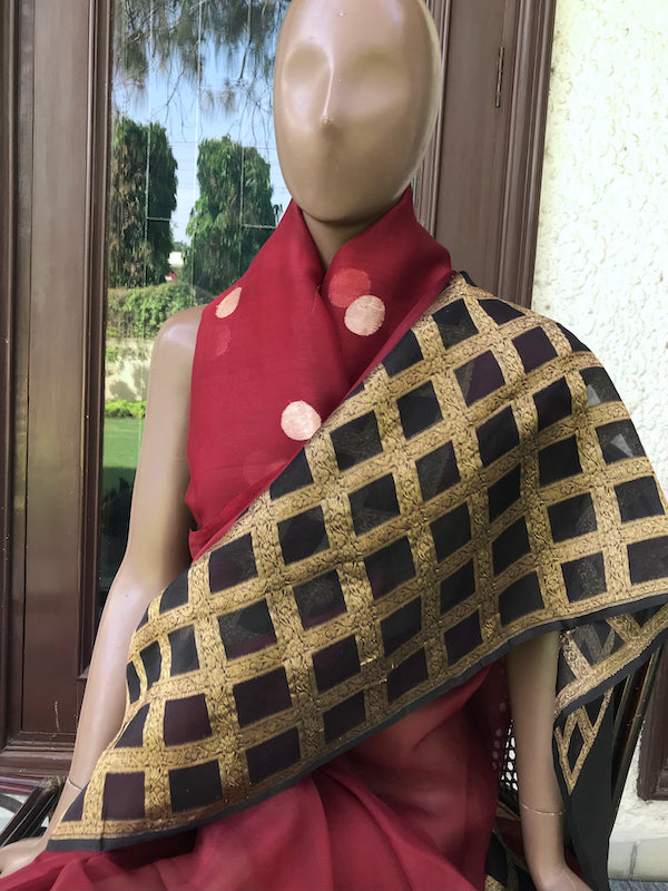 Czarina Burgundy & Black Organza Saree