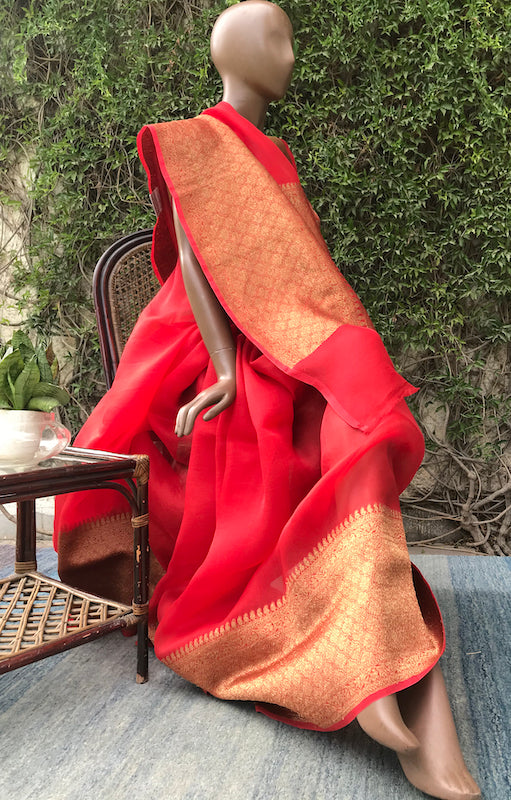 Passionate Poppy Red Organza Saree