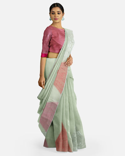 Pale Green Cotton Linen Saree