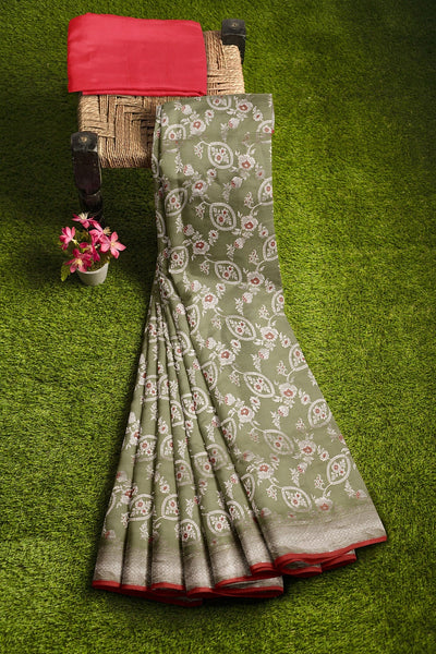Pale green and Red Silk Saree