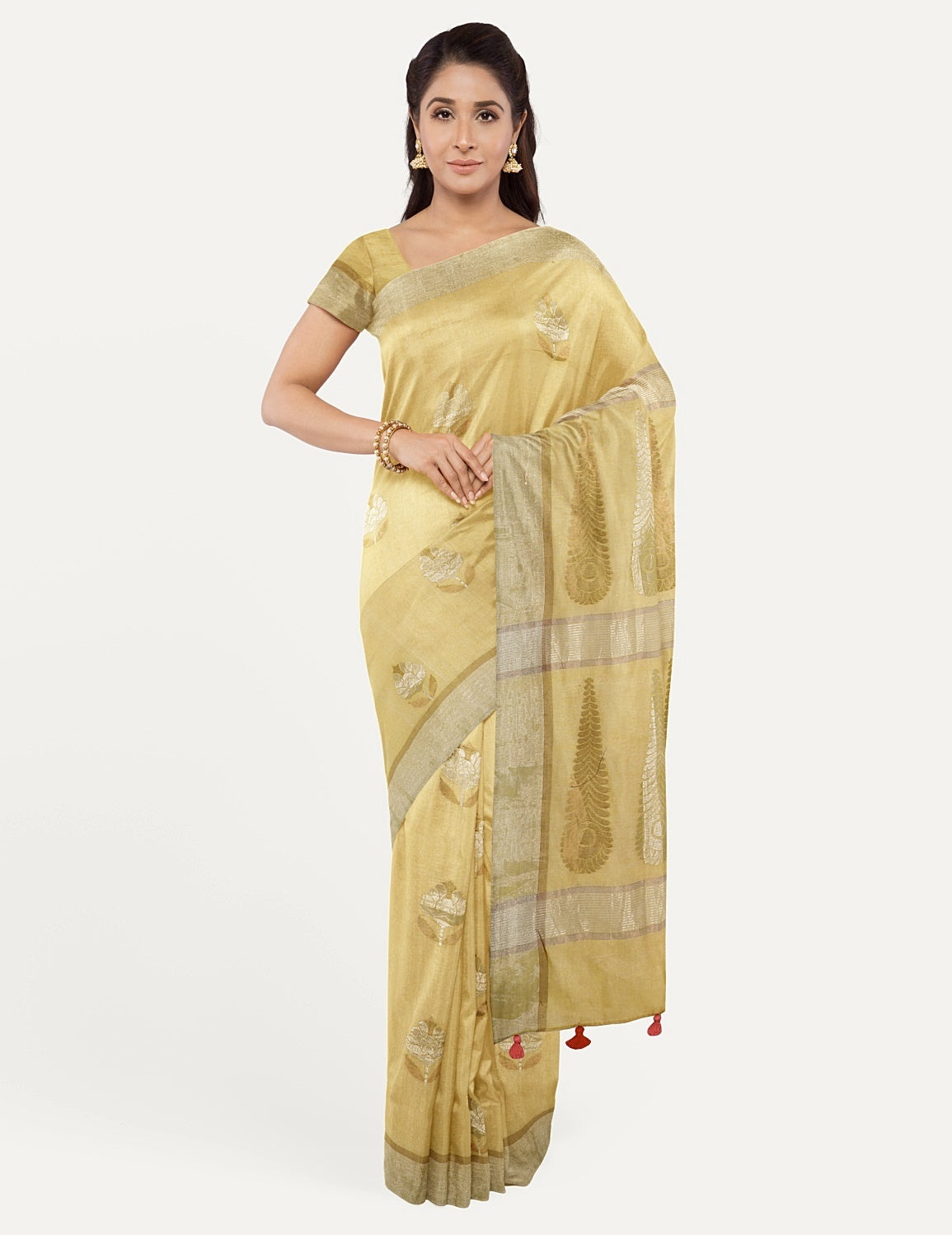 Sandalwood Yellow Tissue Saree