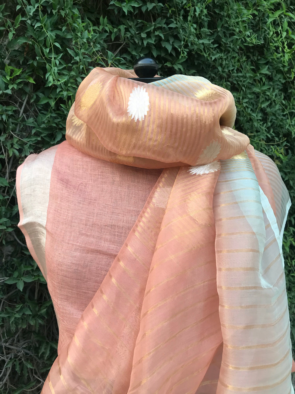 Peach & Sky Blue Organza Saree