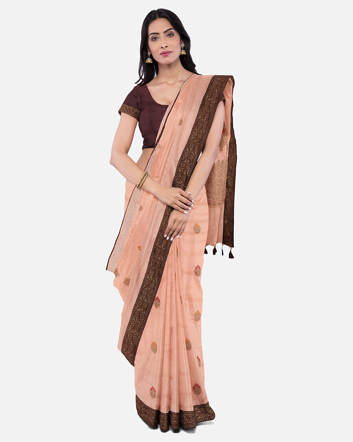 Peach Silk Matka Booti Saree