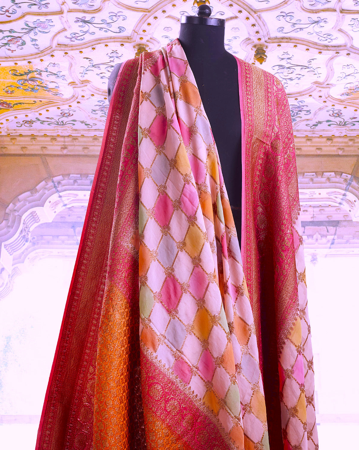Rose Quartz Rangkaat Georgette Sari