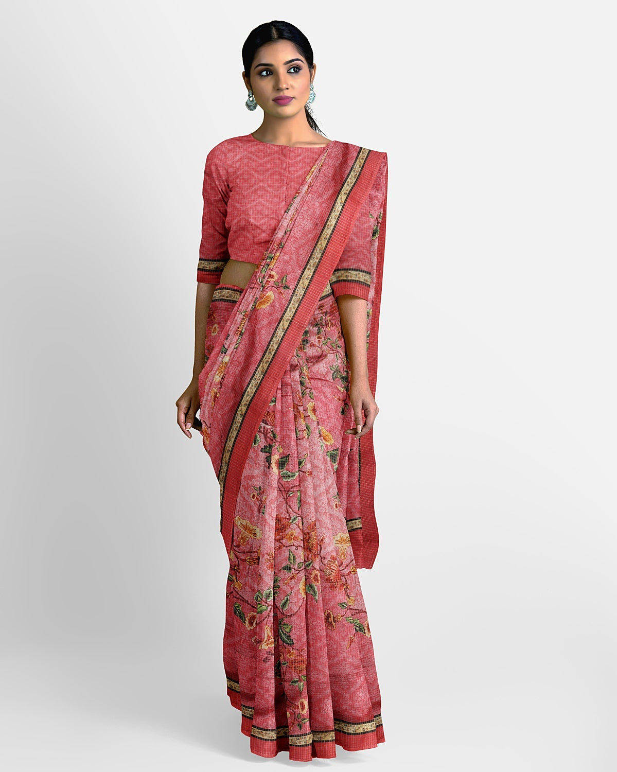Peach Cotton Silk Saree