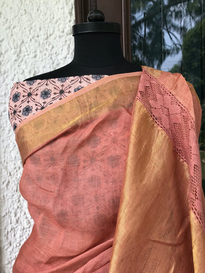Peach Lace Linen Saree