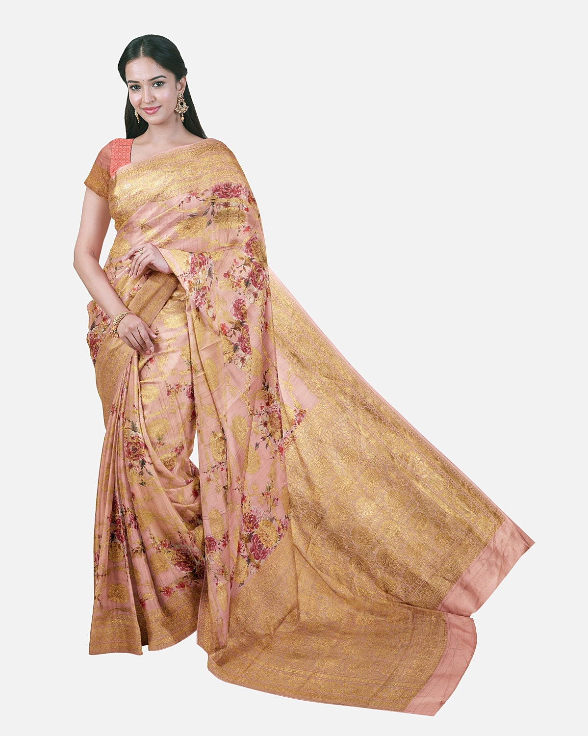 Blush Tussar Georgette Saree