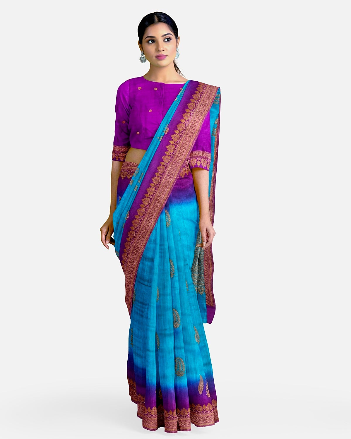 Turquoise & Purple Matka Georgette Border Booti Saree